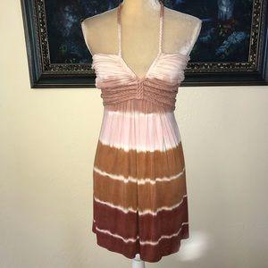 Sky Dress Tie-Dye Brown Pink NWT Tie at Neck sz S